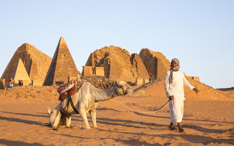 Homem sudanês com seu camelo em um deserto perto das pirâmides de Meroe fotografia de stock royalty free