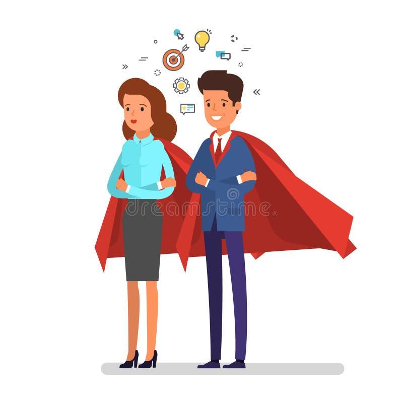Homem super e mulher Ilustração do conceito do negócio ilustração stock
