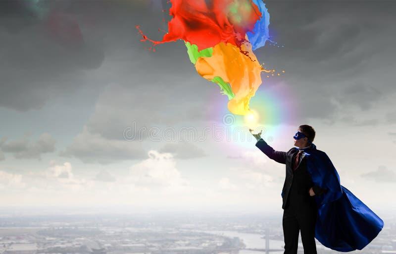 Homem super no céu Meios mistos imagem de stock royalty free