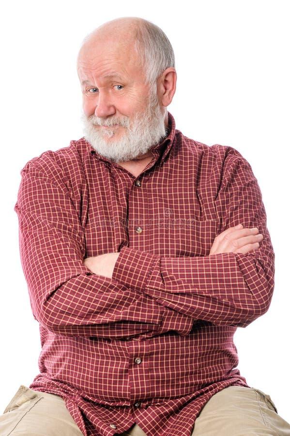 Homem superior de Cheerfull isolado no branco foto de stock royalty free