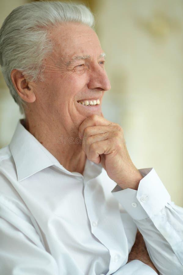 Homem superior de sorriso bonito feliz que levanta em casa fotos de stock royalty free