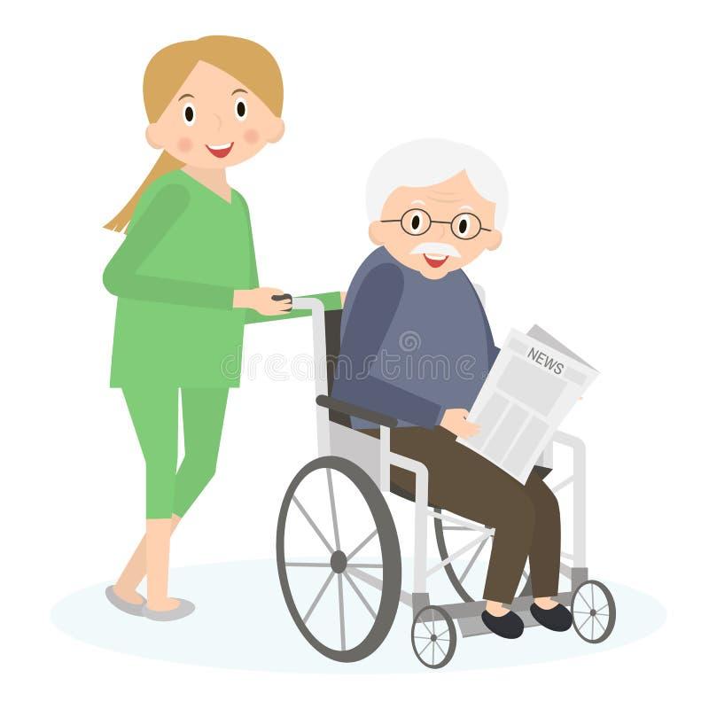 Homem superior deficiente em uma cadeira de rodas O Special precisa o homem Importando-se com sêniores, mover-se de ajuda ao redo ilustração stock