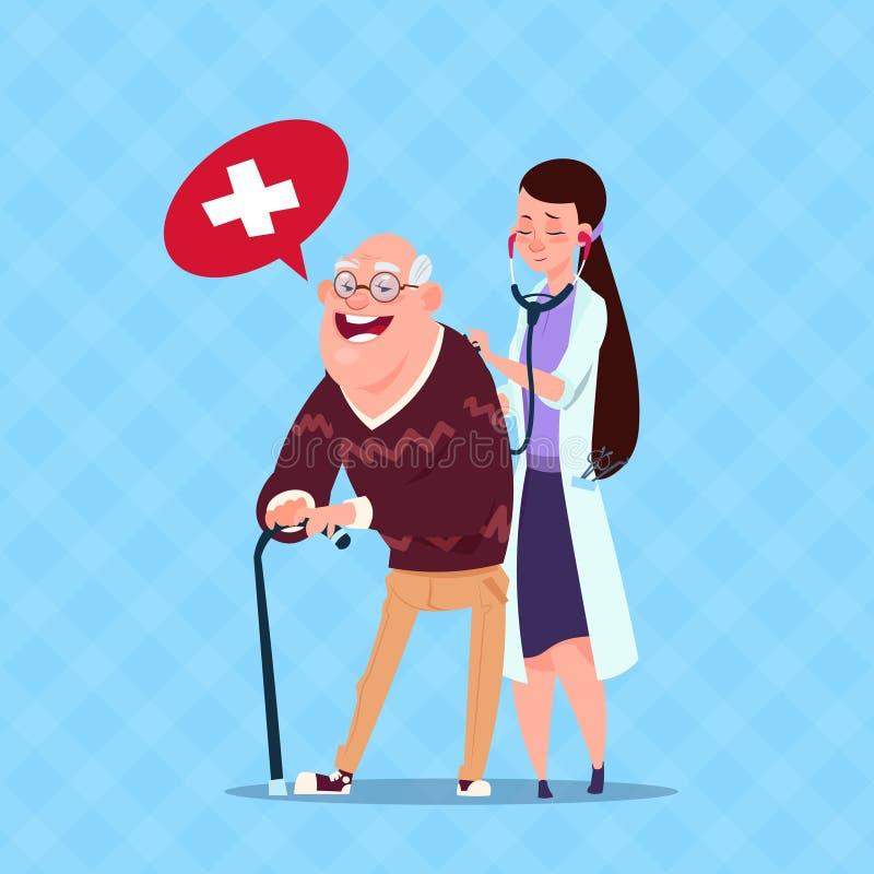 Homem superior do doutor Taking Care Of, avô com enfermeira ilustração stock