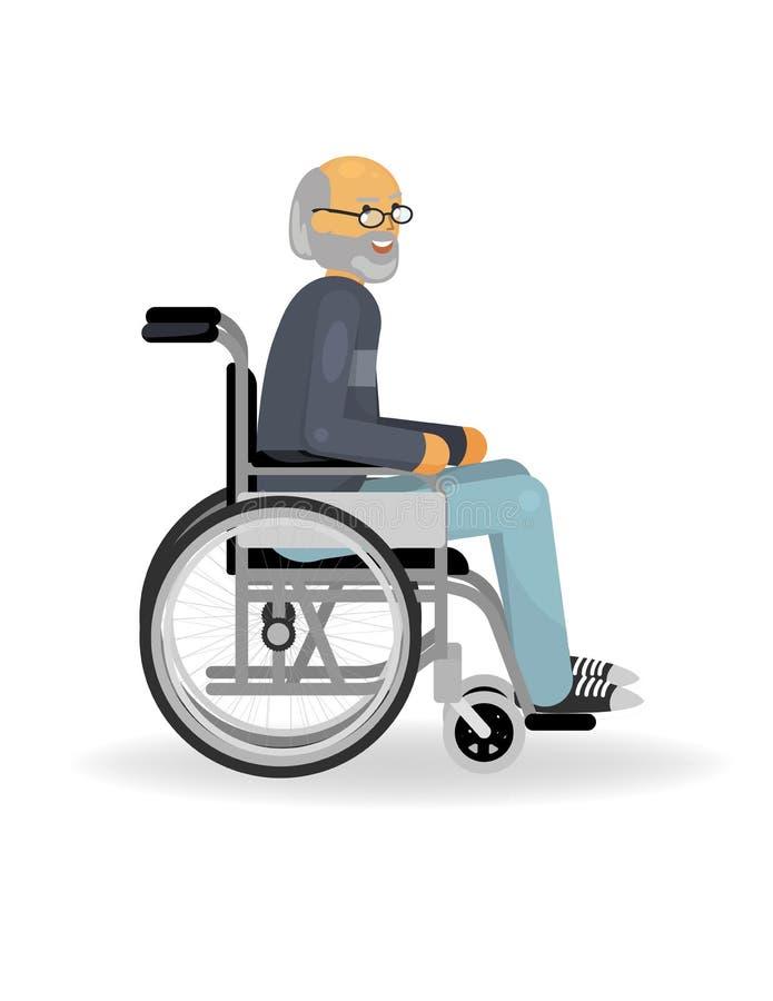 Homem superior em uma cadeira de rodas ilustração royalty free