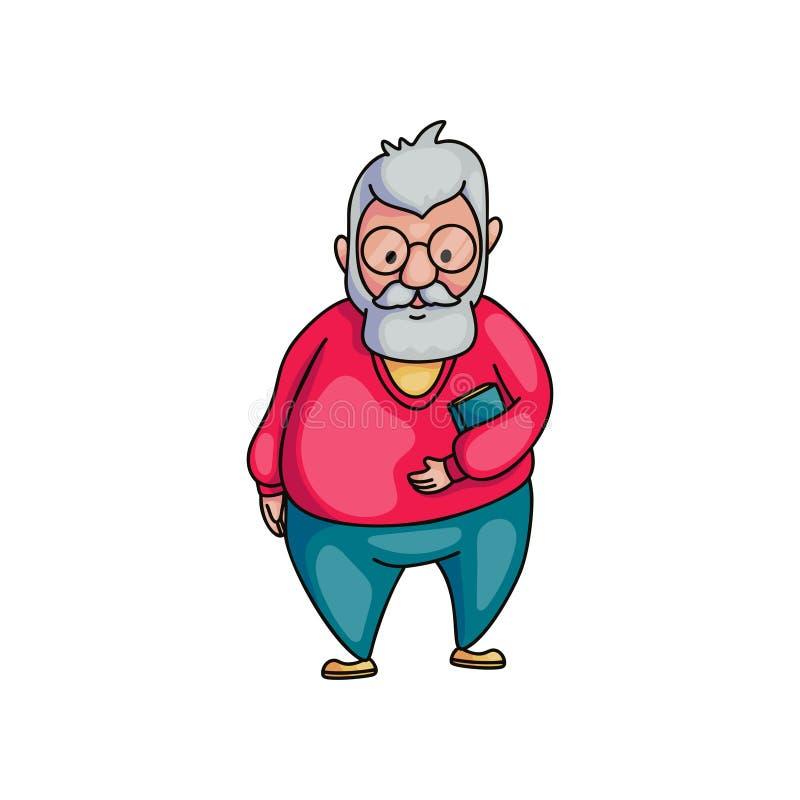 Homem superior idoso com mon?culos e o livro azul com cabelo branco ilustração do vetor