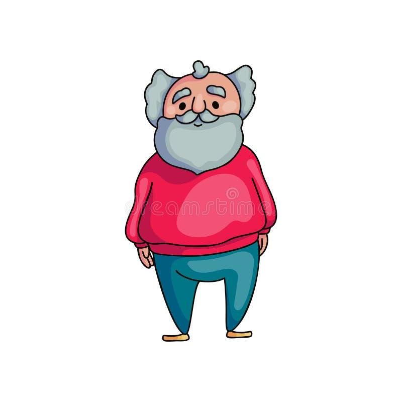 Homem superior idoso engra?ado com a barba cinzenta longa ilustração do vetor