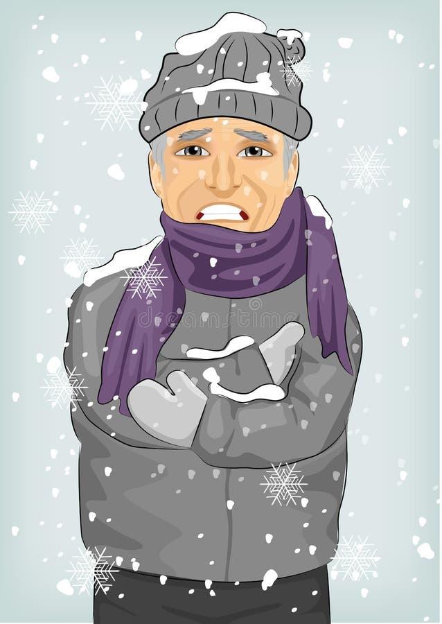 Homem superior que congela-se no frio do inverno que veste o chapéu e o revestimento de lã com lenço ilustração royalty free