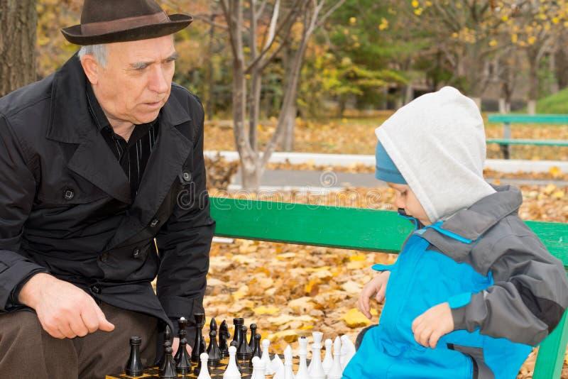 Homem superior que ensina sua xadrez do neto imagens de stock royalty free
