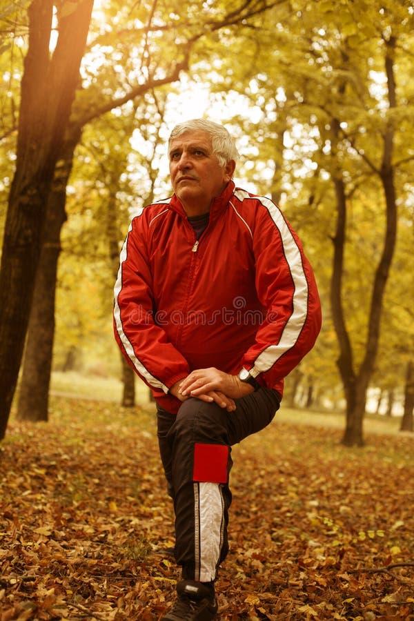 Homem superior que exercita no parque imagens de stock royalty free