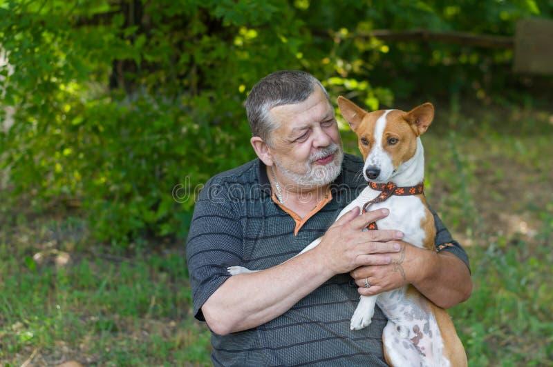 Homem superior que fala a seu basenji bonito do cão que toma o nas mãos ao descansar no parque do verão imagem de stock royalty free