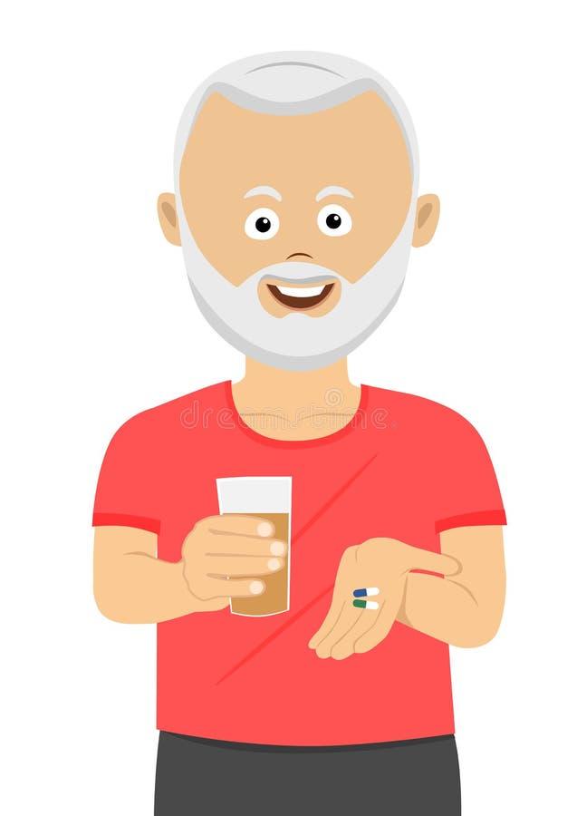 Homem superior que toma seus comprimidos que guardam o vidro da água ilustração royalty free