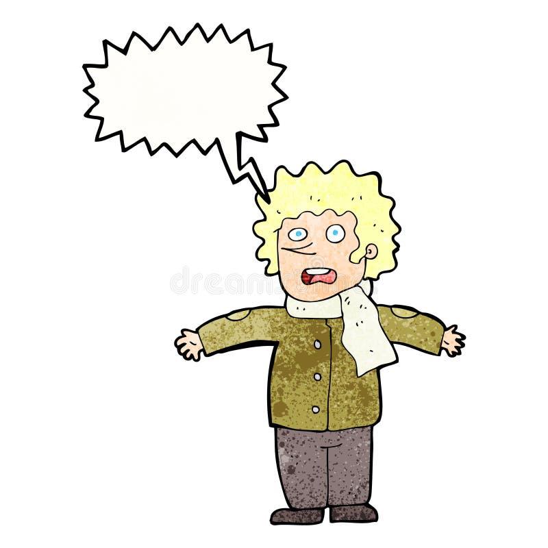 homem surpreendido desenhos animados com bolha do discurso ilustração stock