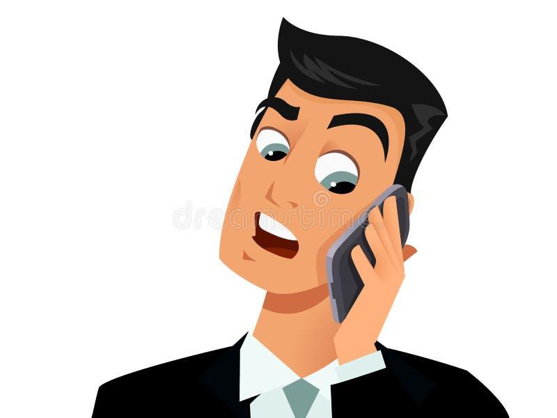 Homem surpreendido no telefone ilustração do vetor