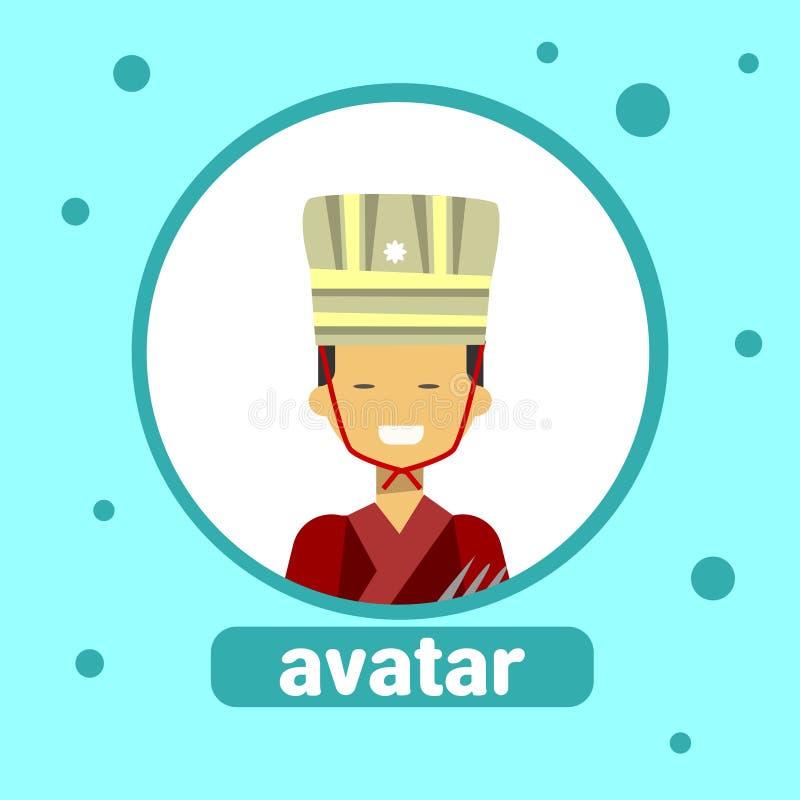 Homem tailandês do ícone asiático do Avatar do homem no retrato tradicional do perfil do traje ilustração stock