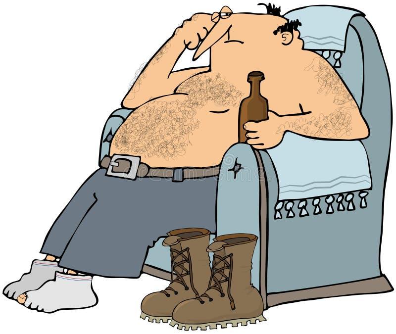 Homem Tired na cadeira ilustração do vetor