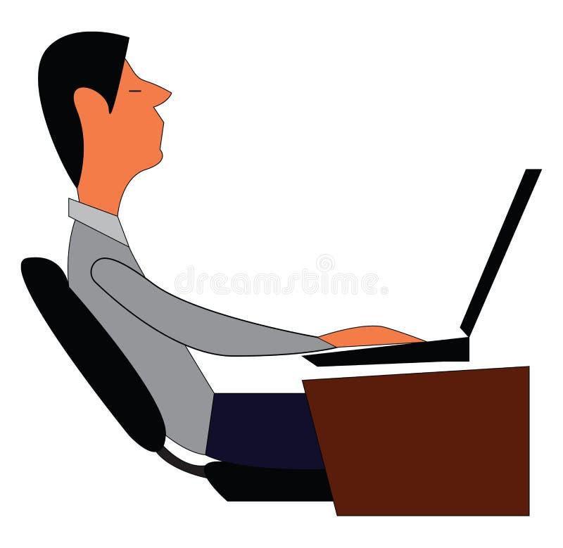Homem trabalhando em laptop em sua mesa ilustrando vetor de impressão ilustração royalty free