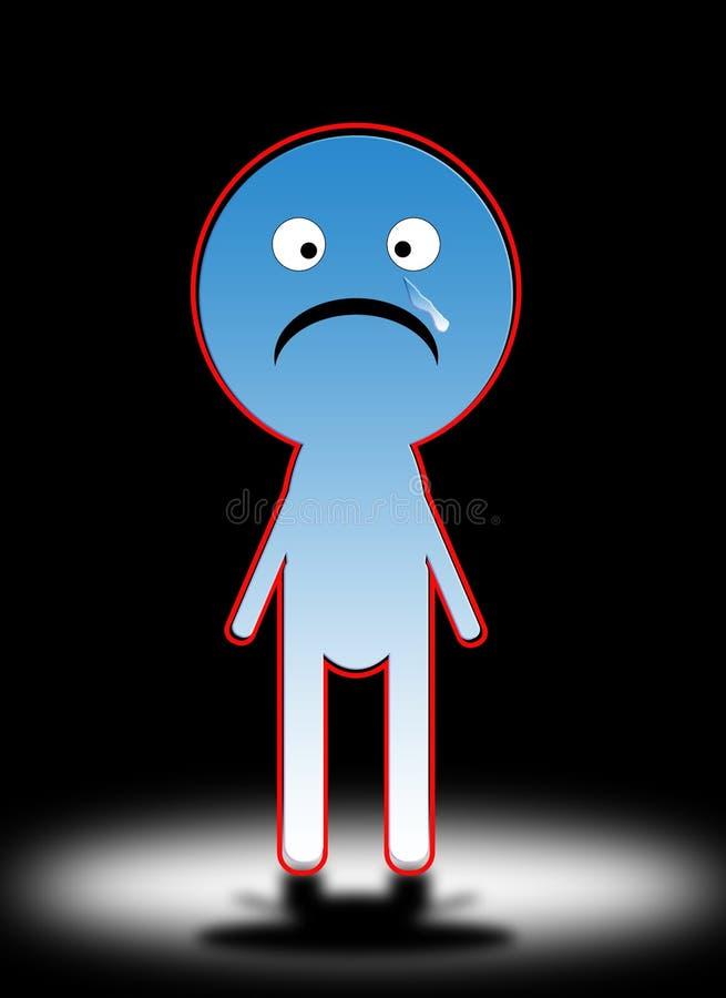 Homem triste 5 dos desenhos animados ilustração stock