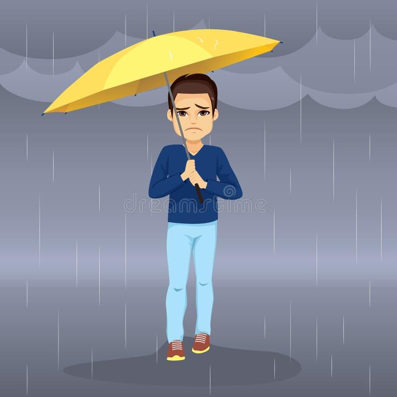 Homem triste chover ilustração stock