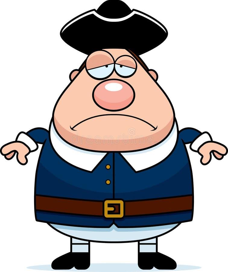 Homem triste do Colonial dos desenhos animados ilustração stock