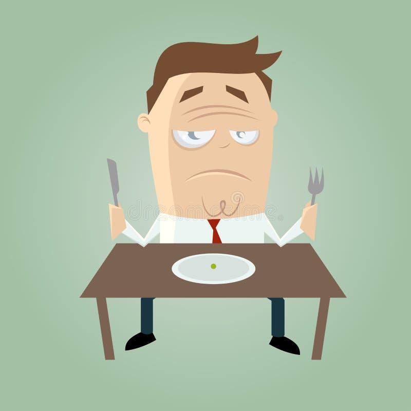 Homem triste dos desenhos animados na dieta ilustração do vetor