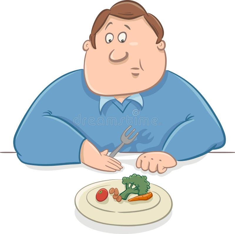Homem triste em desenhos animados da dieta ilustração stock