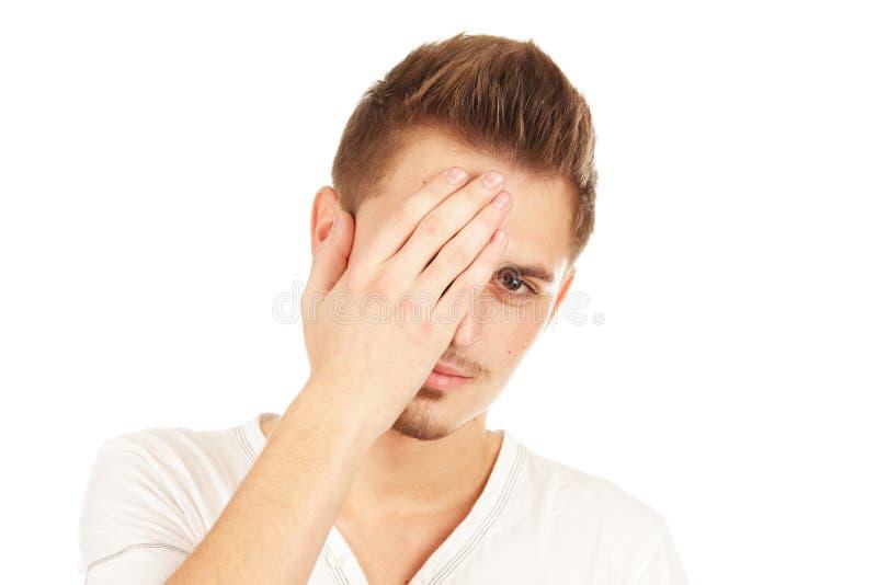 Homem triste novo isolado fotografia de stock