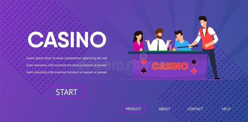 Homem triste perdido na tabela clara do negociante do casino do pôquer ilustração royalty free