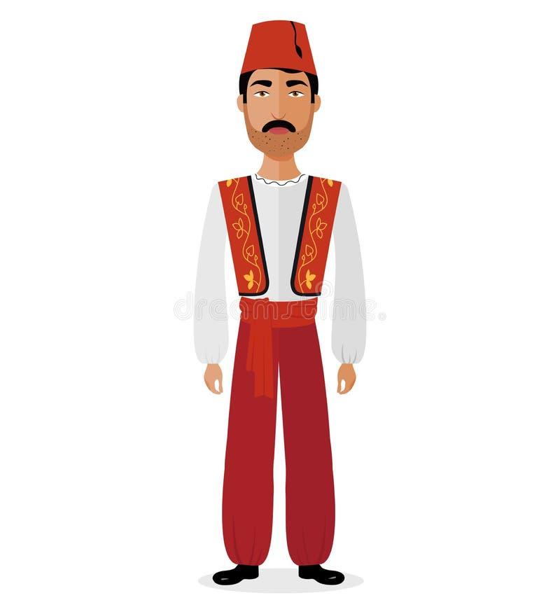 Homem turco dos pares na ilustração tradicional do vetor da roupa ilustração do vetor