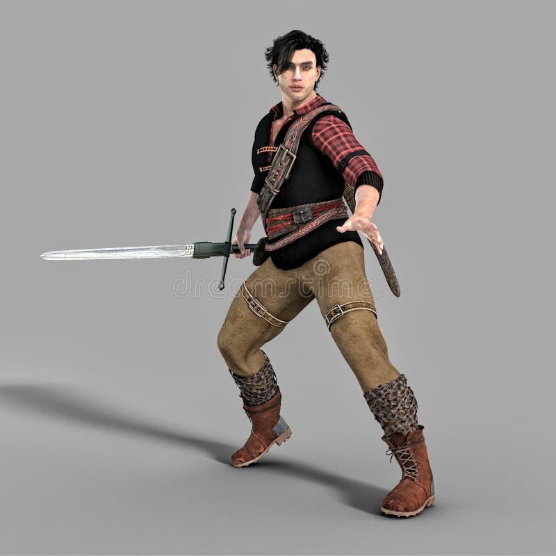 Homem urbano considerável da fantasia que guarda uma espada em um pronto para lutar ou defender a pose ilustração do vetor