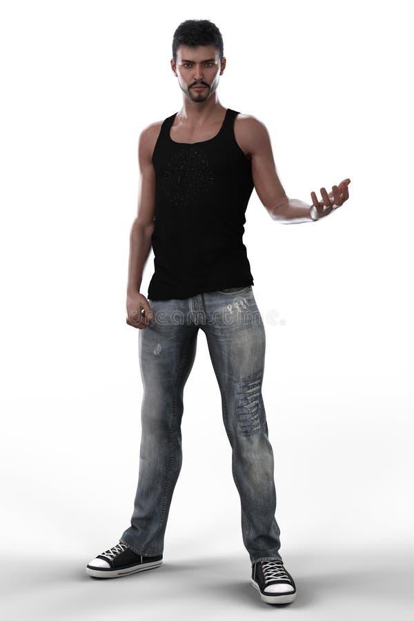 Homem urbano da fantasia nas calças de brim isoladas ilustração do vetor