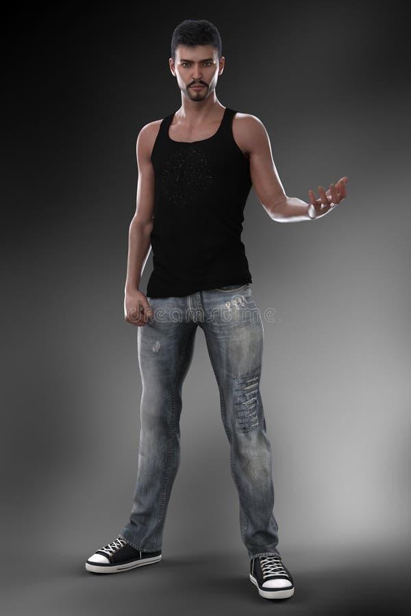 Homem urbano da fantasia nas calças de brim na pose do mage ilustração do vetor