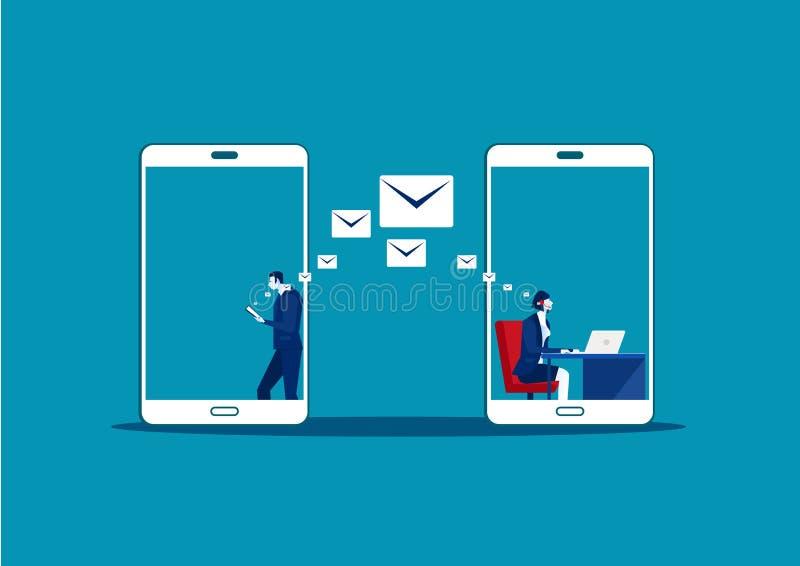 Homem usa samrtphone Carta online Chatting fazer call center Comunicação Social, ilustração royalty free
