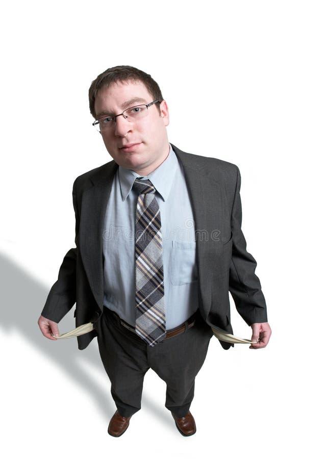 Homem vazio dos bolsos fotografia de stock