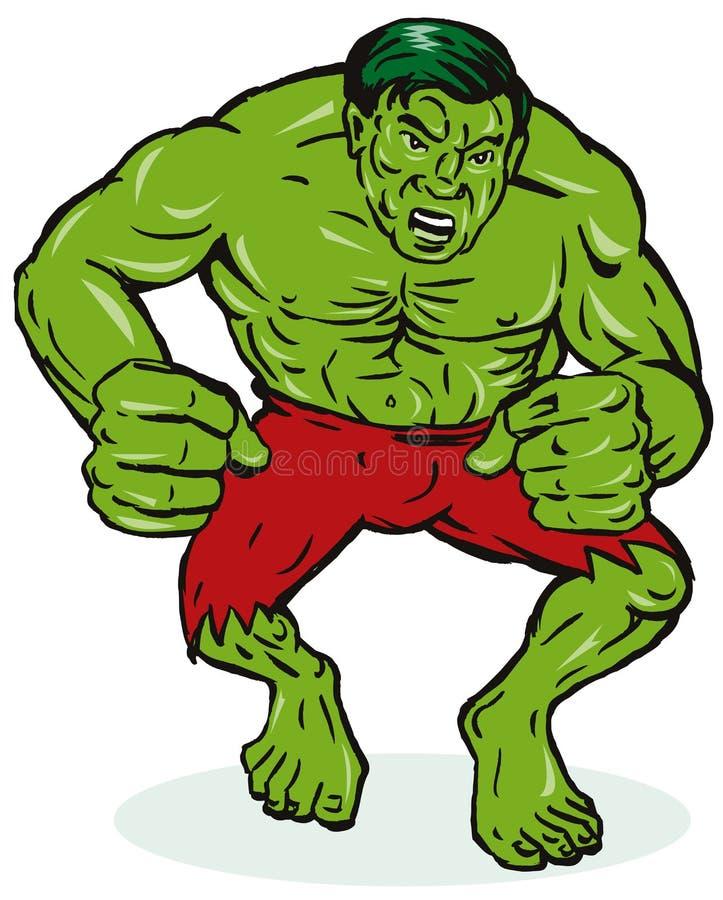 Homem verde com músculos ilustração do vetor