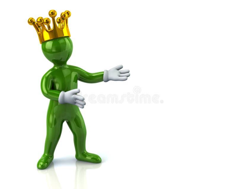 Homem verde do personagem de banda desenhada com a coroa que apresenta algo ilustração royalty free