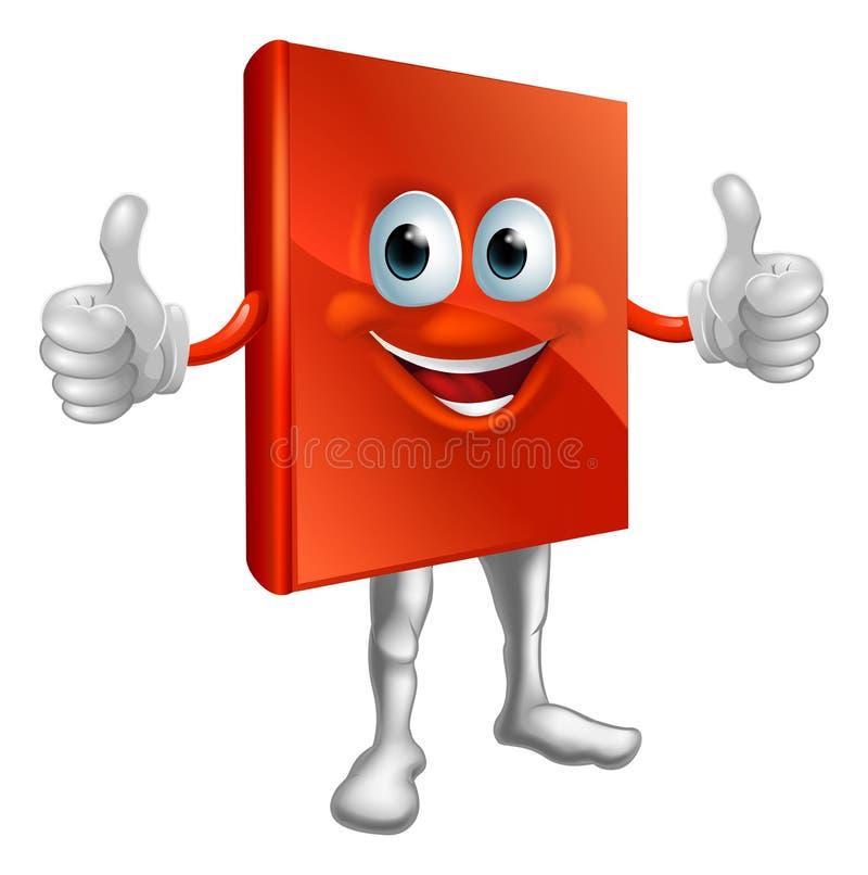 Homem vermelho do livro que faz os polegares acima ilustração stock