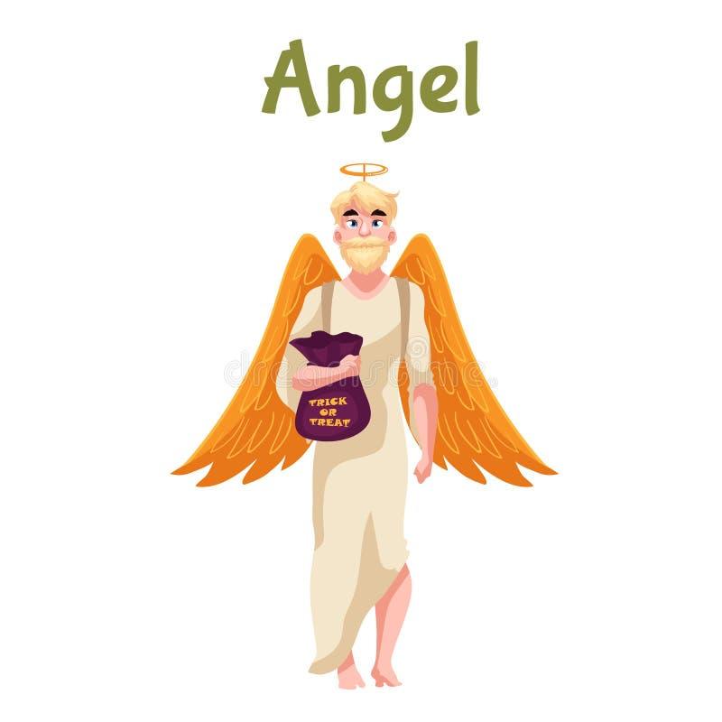 Homem vestido no traje do anjo para Dia das Bruxas ilustração do vetor