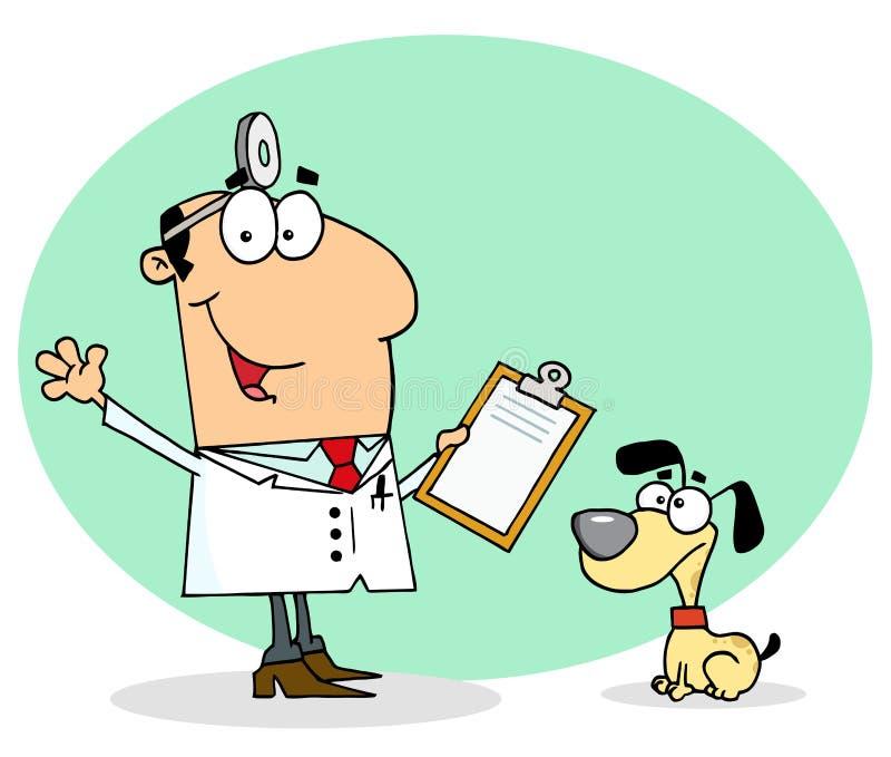 Homem veterinário canino dos desenhos animados caucasianos ilustração stock