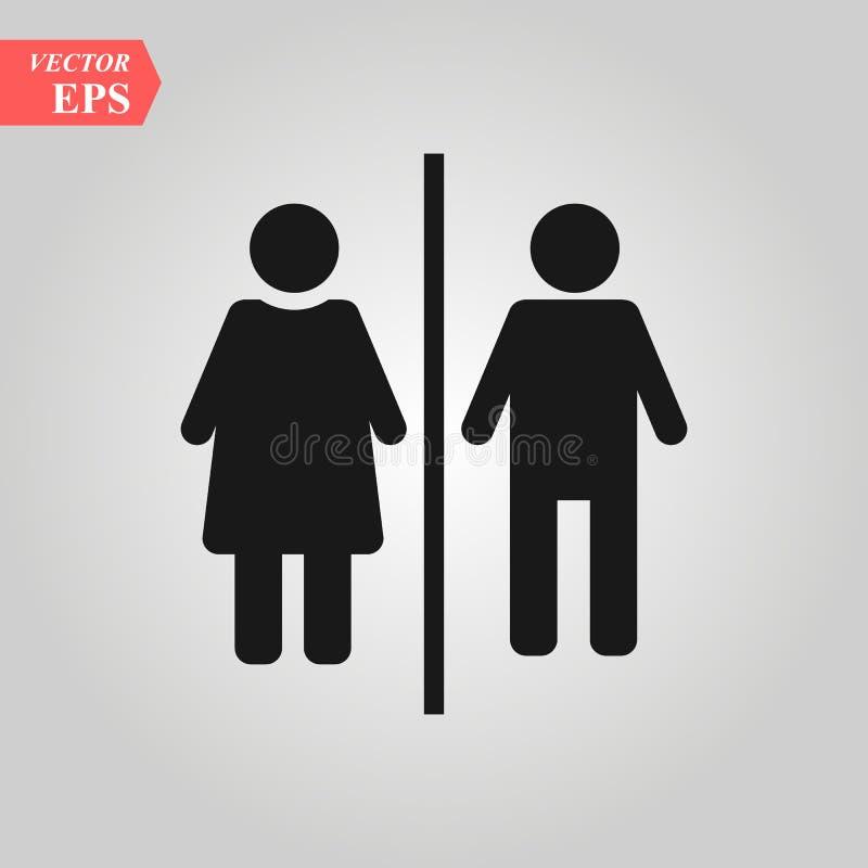 Homem vetor do ícone do toalete da mulher, sexo gênero, menina, menino WC ilustração do vetor do símbolo da placa da porta para a ilustração stock