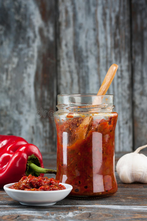 Homemade Ajvar. Ajvar, a delicious roasted red pepper and eggplant dish royalty free stock photo