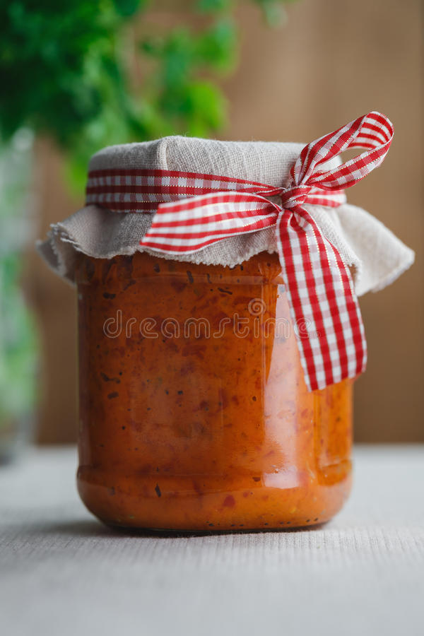 Homemade Ajvar stock photo