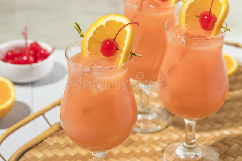 Homemade Alcoholic Hurricane Cocktail Drink. With Rum and Orange Juice stock photo