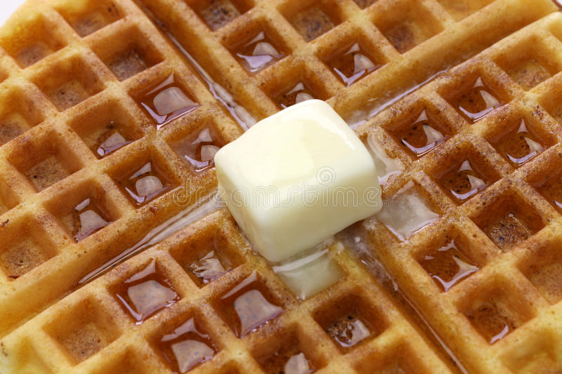 Homemade american round waffles with butter stock image