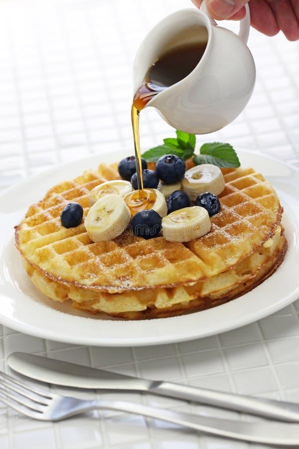 Homemade american round waffles royalty free stock photo