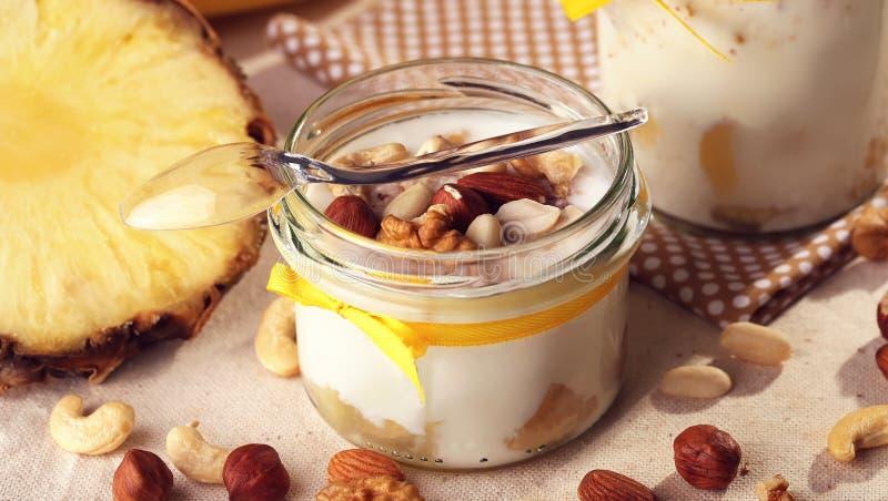 Homemade antioxidant summer fruits. Yogurt from natural milk. Th stock photo