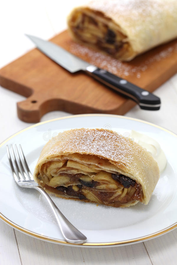 Homemade apfelstrudel, apple strudel. Austrian food royalty free stock photos