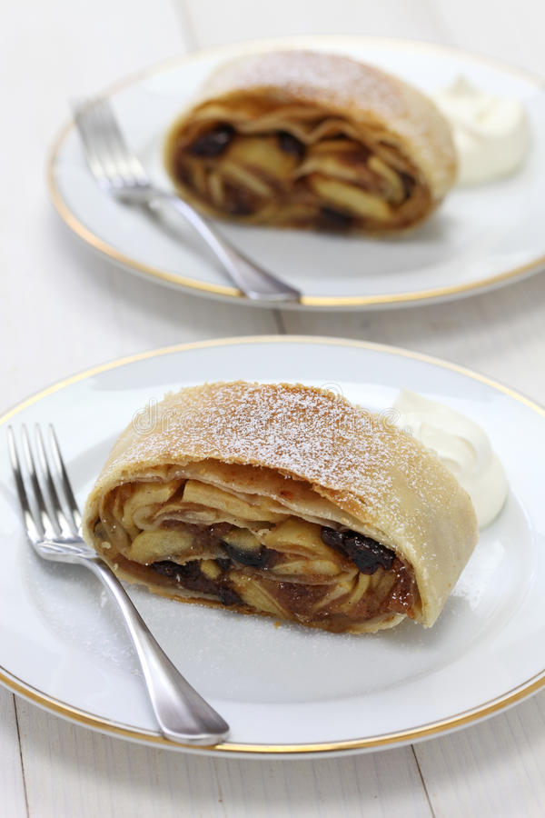 Homemade apfelstrudel, apple strudel. Austrian food royalty free stock photo