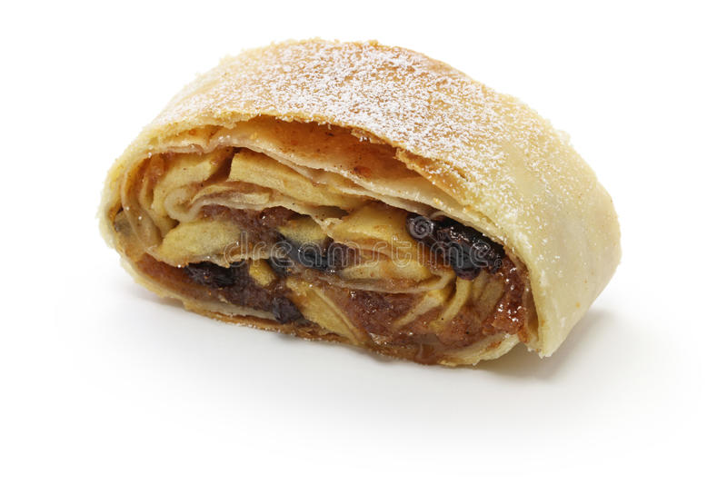 Homemade apfelstrudel, apple strudel. Austrian food stock photo