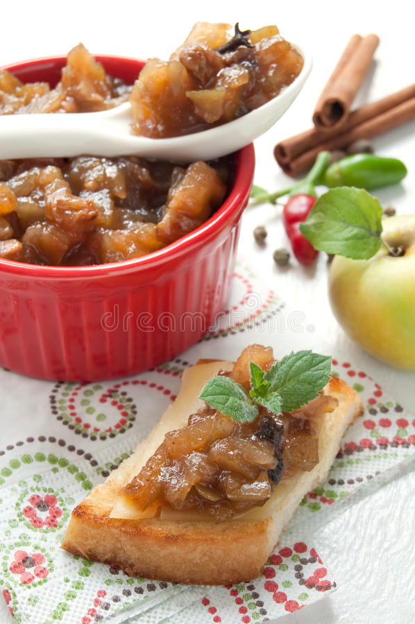 Homemade apple chutney stock photography