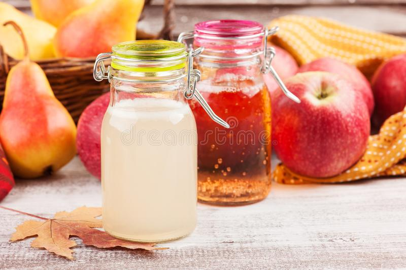 Homemade apple pear cider royalty free stock photo